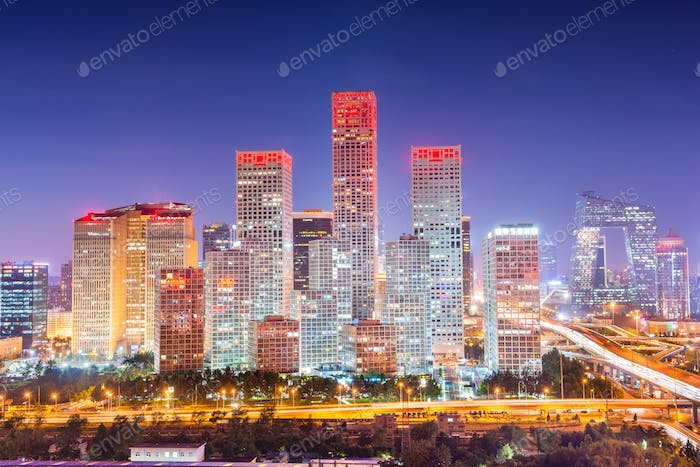 Peking, China moderne Finanzviertel Skyline