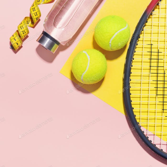 Sport flat lay background on pink