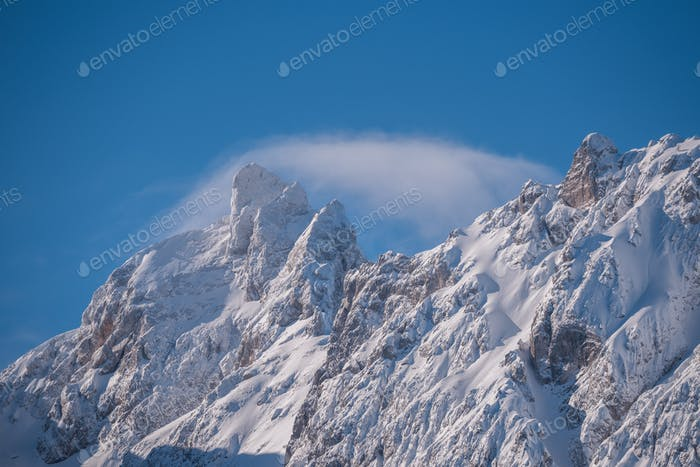 Winter fairy tale landscape in the alps mountains