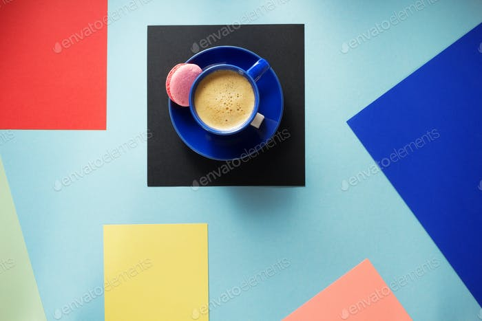 cup of coffee at colorful background