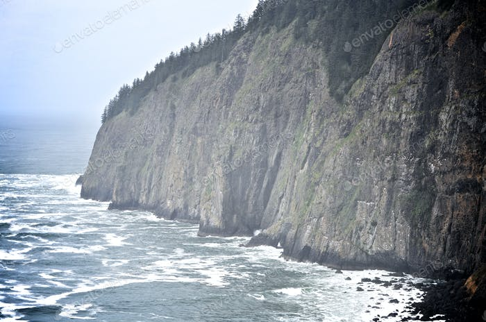 Craggy cliffs by the Pacific Ocean