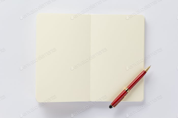 notebook or book on white  background