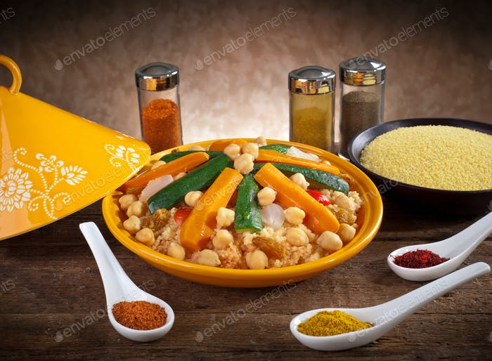 Vegetable tagine with cous cous and spices