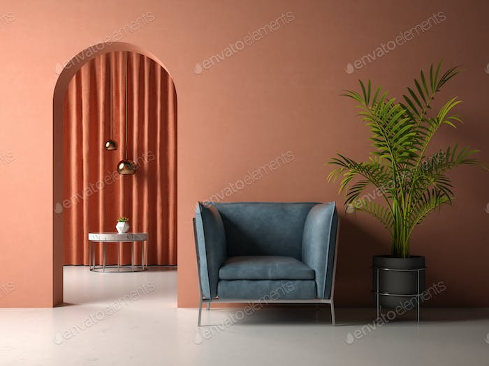 conceptual interior room 3d illustration