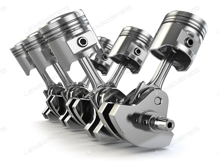 V6 engine pistons and crankshaft isolated on white background.