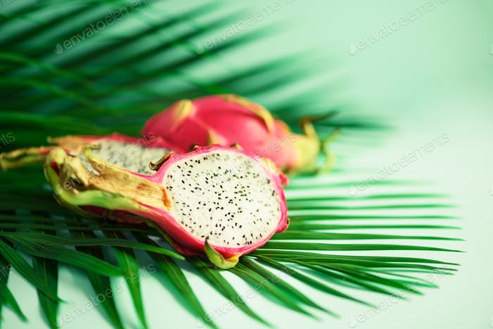 Pitahaya or dragon fruit over tropical green palm leaves on turquoise background. Copy space. Pop