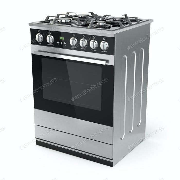Stainless steel gas cooker with oven isolated on white.
