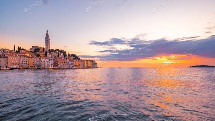 Panoramic view of beautiful ocean sunset in Rovinj, Croatia