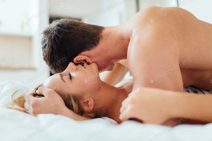 Sensual foreplay by couple