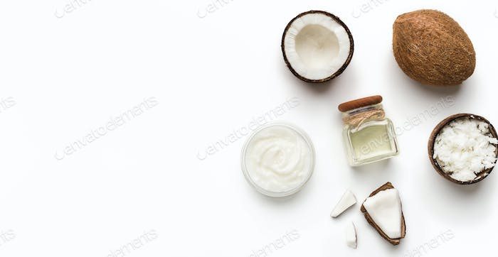 Coconut products on white
