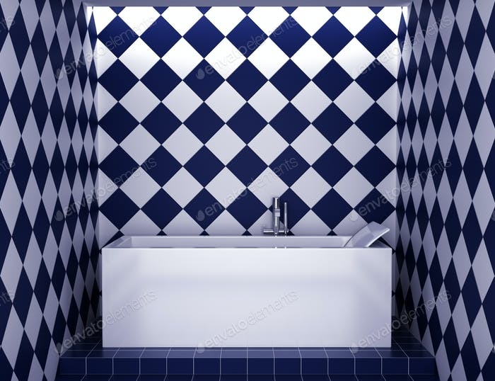 modern bathroom with blue and white tiles on wall