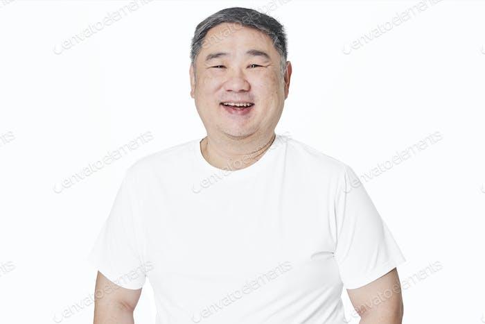 Men's white t-shirt mockup fashion shoot in studio
