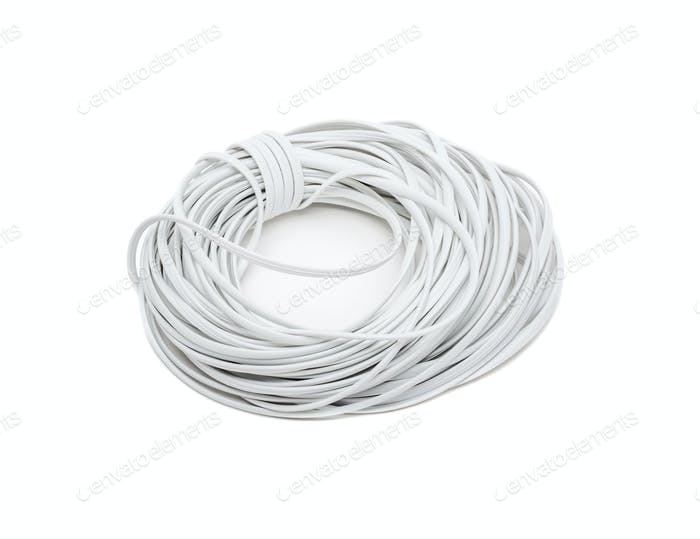 White electric wire isolated on white