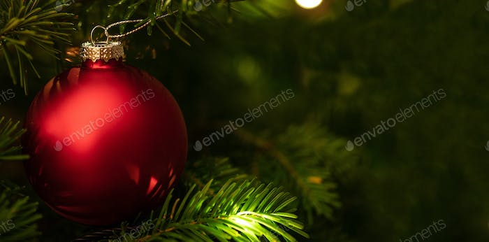 Christmas bauble hanging on a spruce, closeup view, copy space