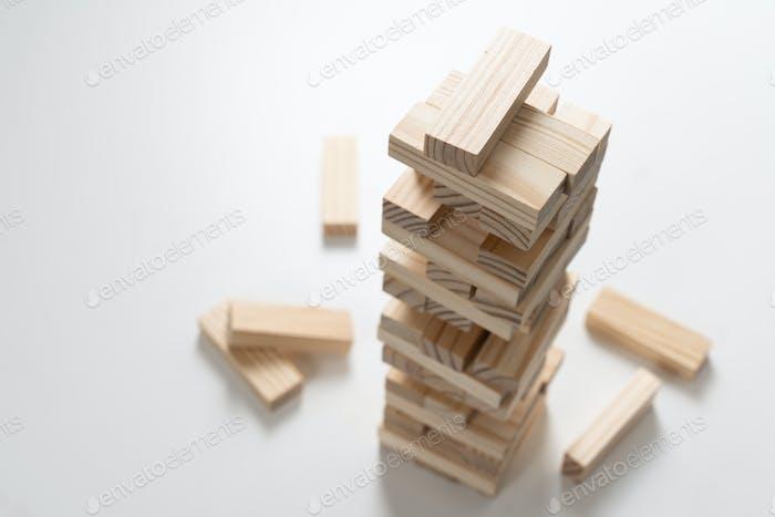 Closeup wood blocks stack game