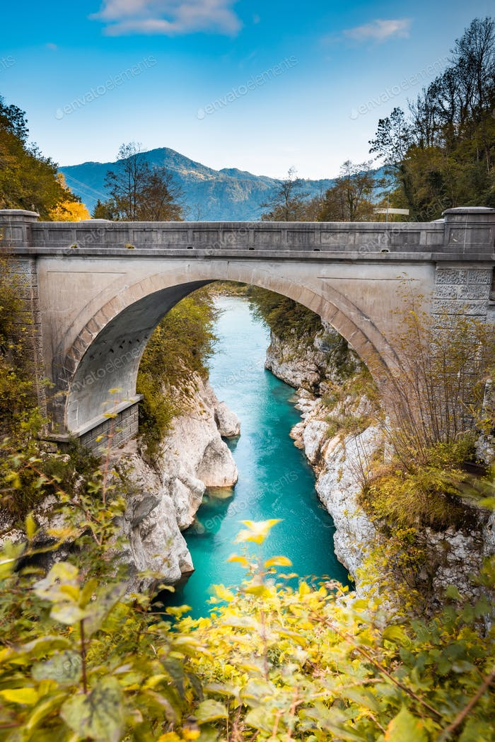 Napoleon Bridge Over River Soca in Slovenia at Fall