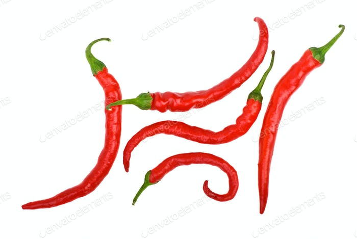Red long curved chili peppers