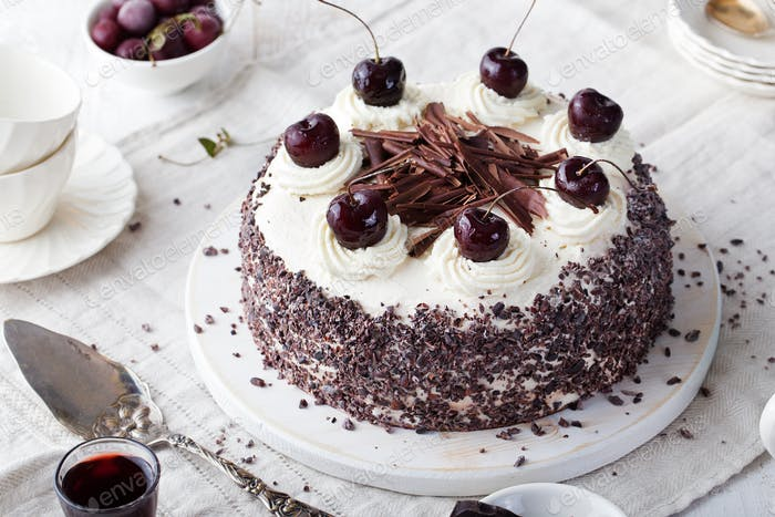 Black forest cake, Schwarzwald pie choco, cherry