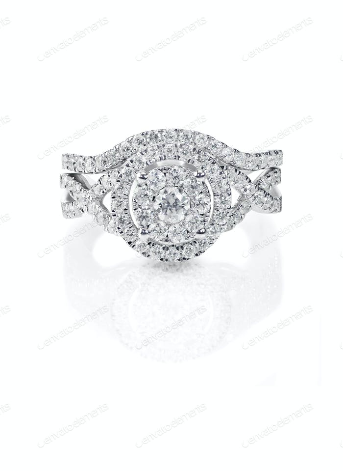 Beautiful Diamond Wedding band engagement ring set