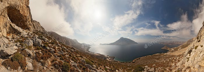 Horizontal Mar y las rocas, Kalymnos Isla, Grecia