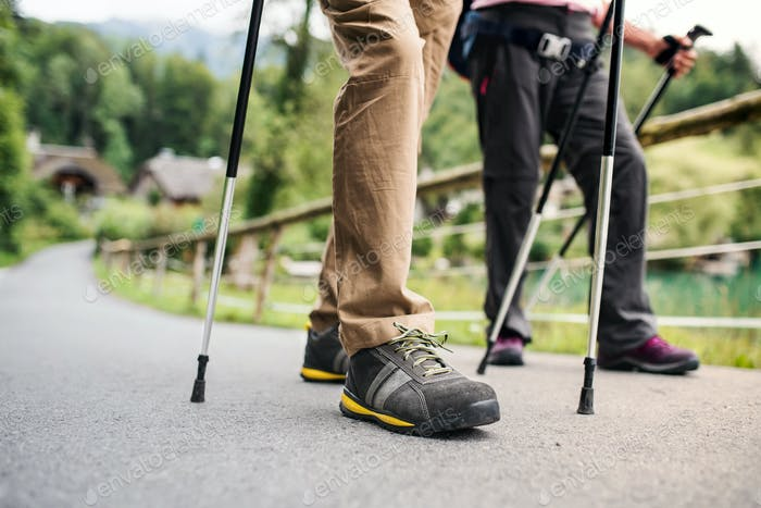Senior couple with nordic walking poles hiking in nature, midsection.