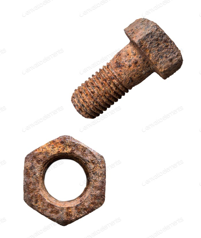 Isolated Rusty Screw And Nut