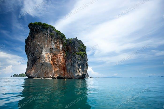 Beaty limestone rock in the ocean, Krabi, Thailand.