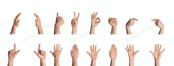 Collage verschiedener Handgesten und Zeichen, isoliert auf weißem Hintergrund