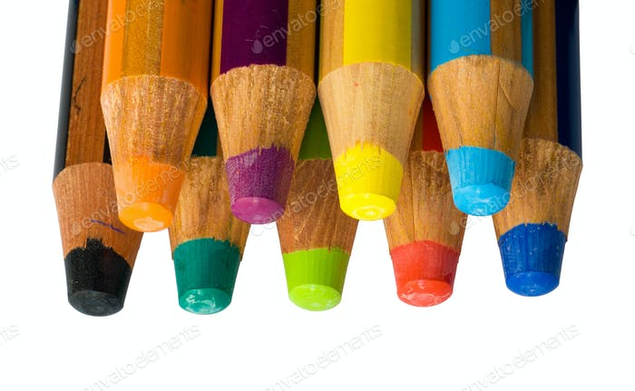 Isolated colored crayons