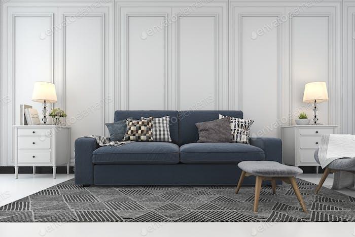 3D Rendering Mock Up Rahmen im Wohnzimmer mit Sofa