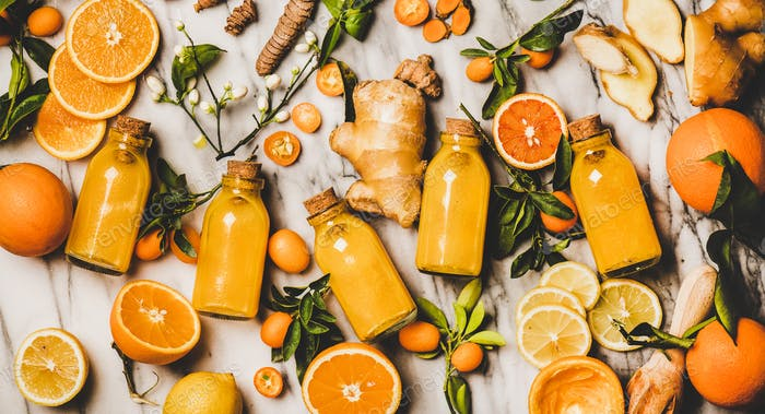 Immune boosting natural vitamin health defending drink in glass bottles
