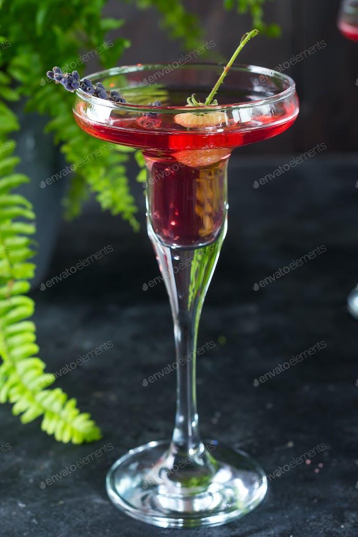 Köstliche Cocktails mit Campari, Gin, Wermut und Beeren. Erfrischendes Sommergetränk auf Stein oder