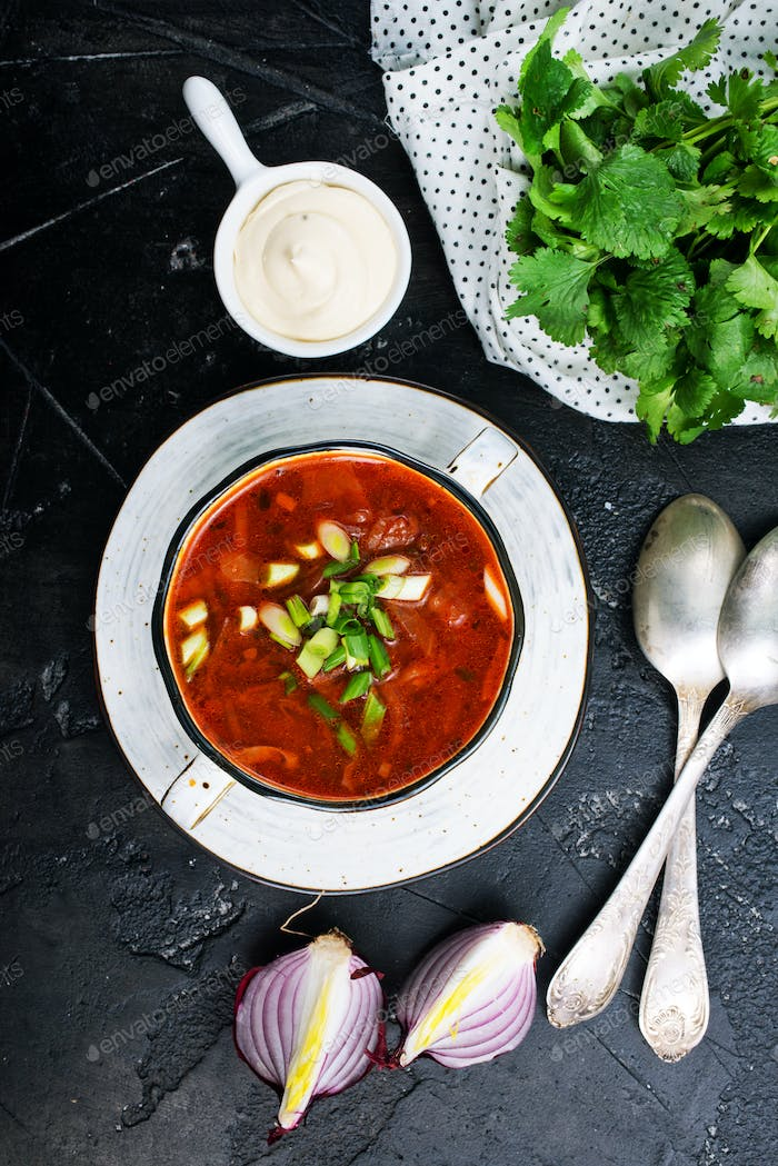 Traditional Ukrainian Russian borscht