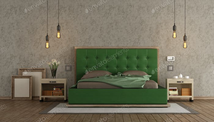 Master bedroom with green double bed