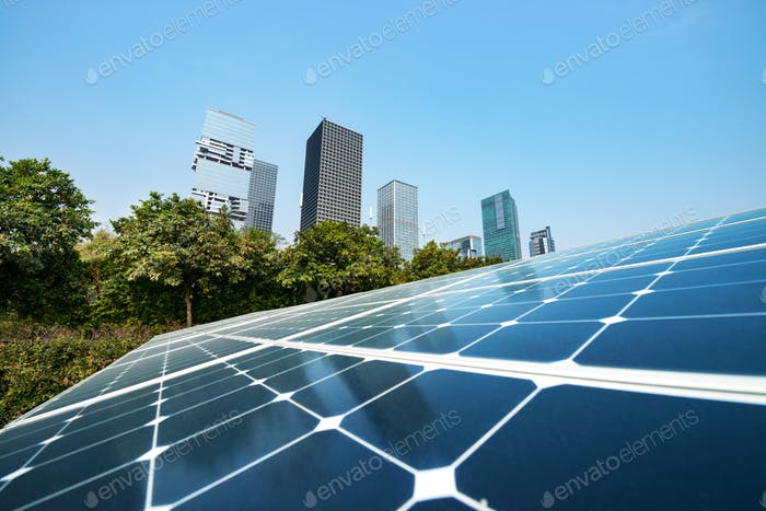 Solar panels in city