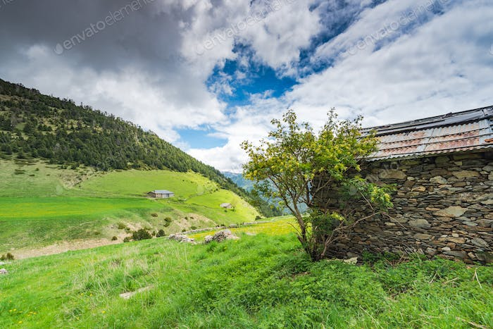 Rural dry stone farm house in Andorra Pyrenees