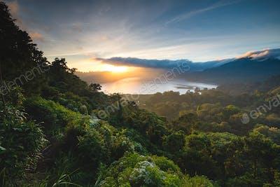 beautiful sunset over lake buyan bali indonesia