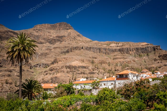 Picturesque Fataga town in Gran Canaria