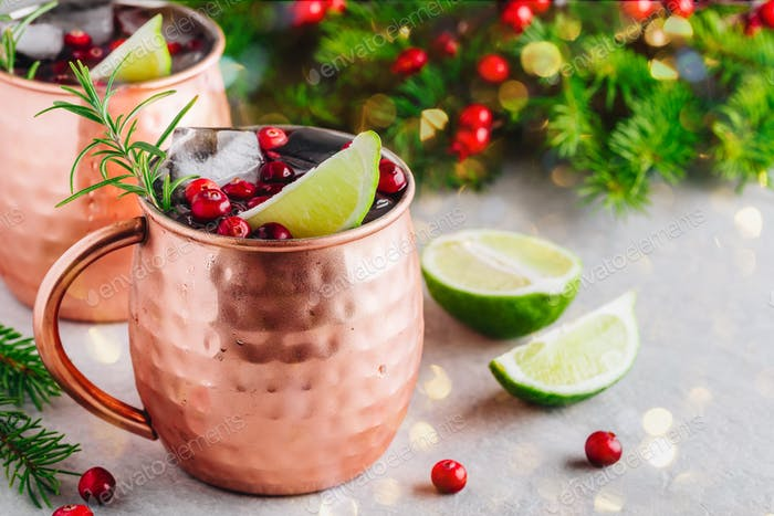Christmas Moscow Mule ice cold Cocktail in copper cup with cranberries