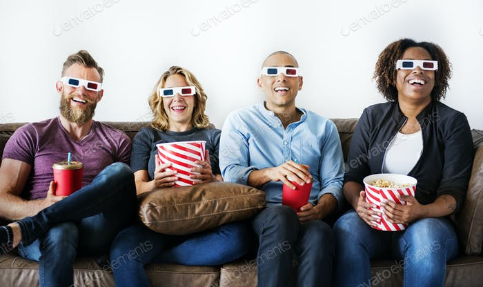 Group of friends watching movie