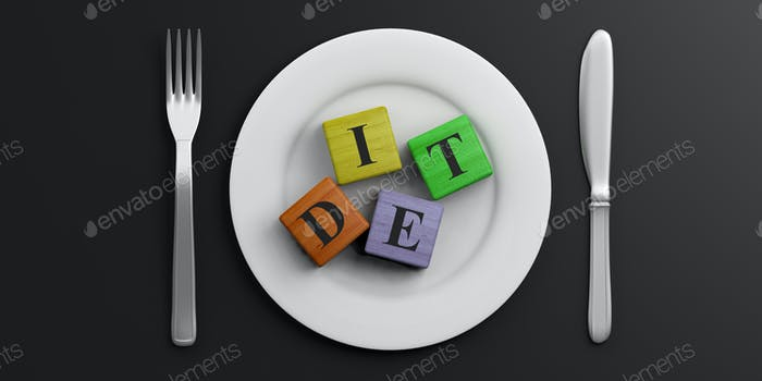 Place Setting and word DIET on black background. 3d illustration