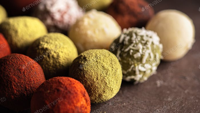Colorful homemade truffles with difffernt coat