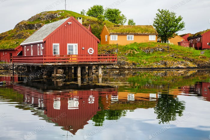 traditional fisherman houses rorbu at Haholmen island, Norway