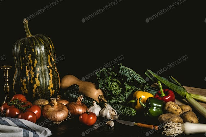 Still life of assorted vegetables and greens. Healthy classic still life