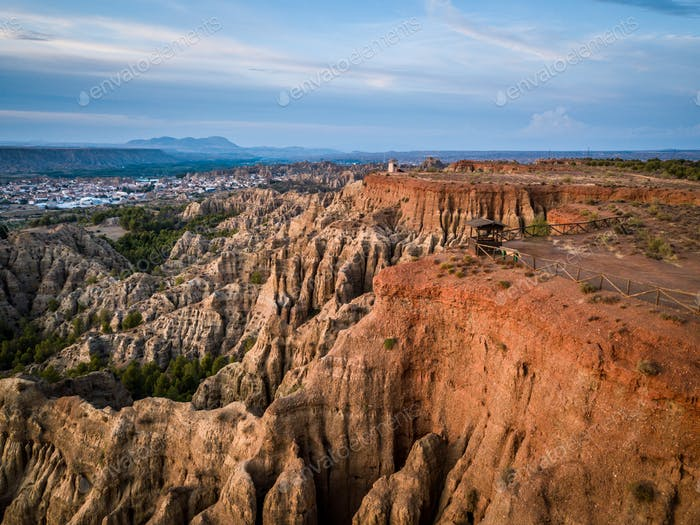 Lookout gullies at Marchal, Guadix, Granada, Spain