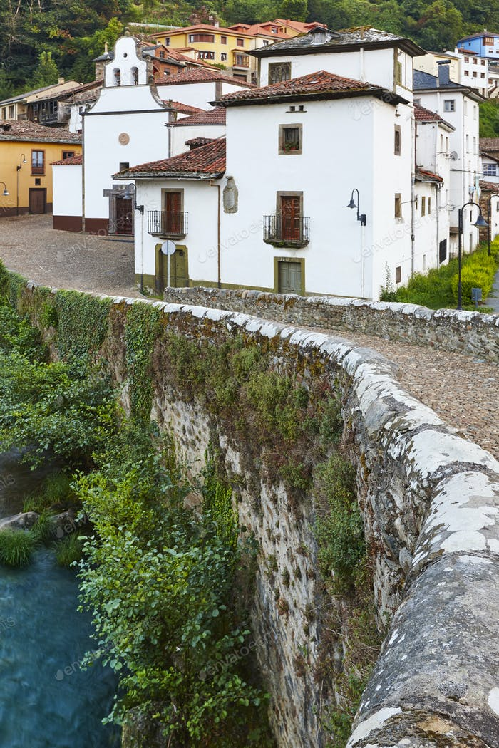 Traditional village in Asturias with stone bridge, Cangas Narcea. Spain