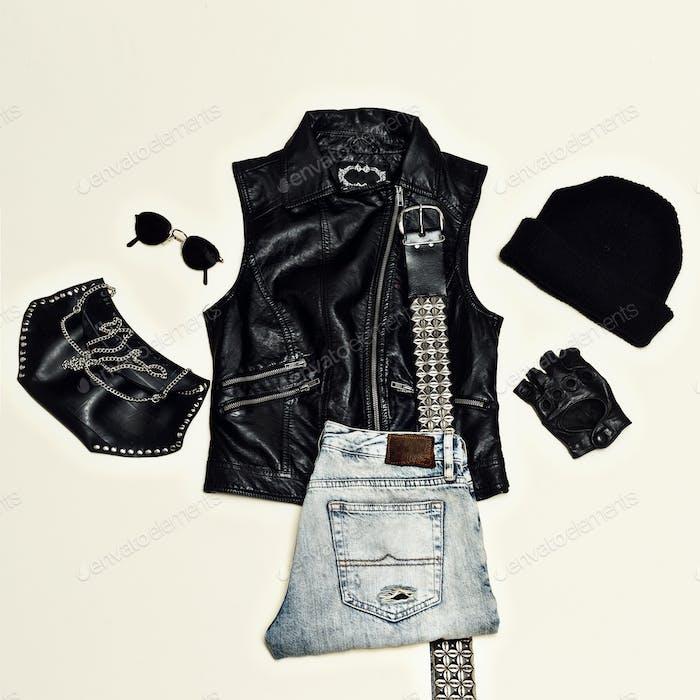 Rock style set. Black Urban fashion. Vest, clutch bag, cap. Blac