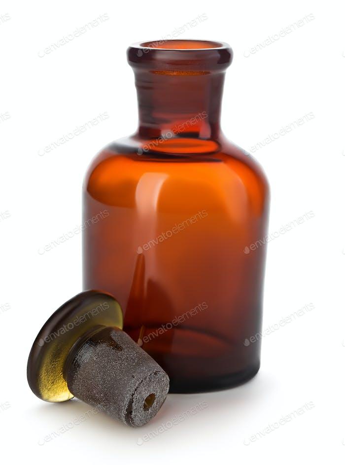 Vintage medicine pharmacy bottle on white background.