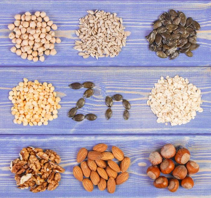 Produkte und Inhaltsstoffe, die Zink und Ballaststoffe enthalten, gesunde Ernährung