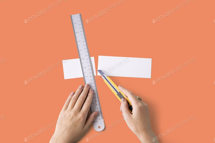 Cutter Ruler Paper Art Color Design Creative Concept